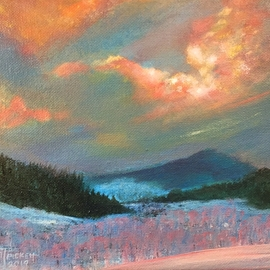 Michael Pickett, , , Original Painting Acrylic, size_width{a_sunset_snow_scene-1559161996.jpg} X 8 inches