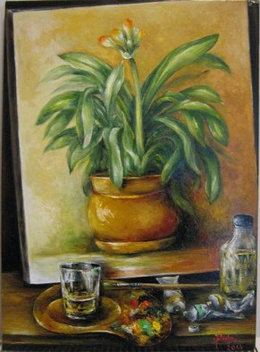 Nagy Alida; Clivia, 2014, Original Painting Oil, 39.5 x 54.5 cm. Artwork description: 241           Oil painting on canvas stretched on a wooden chassis.         ...