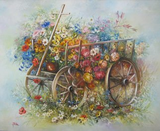 Nagy Alida; Oil Painting Flower Trolley, 2013, Original Painting Oil, 60 x 50 cm. Artwork description: 241       Oil painting on canvas stretched on a wooden chassis.     ...