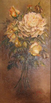 Nagy Alida; Painting In Oil Bouquet O..., 2007, Original Painting Oil, 38 x 77 cm. Artwork description: 241    Oil painting on canvas stretched on a wooden chassis.A beautiful bouquet of roses that will delight home.  ...