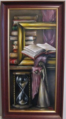 Nagy Alida; Passion For Books, 2014, Original Painting Oil, 35.5 x 75.5 cm. Artwork description: 241            Oil painting on canvas stretched on a wooden chassis. Frame not included.          ...