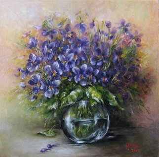 Nagy Alida; Violets, 2015, Original Painting Oil, 40 x 40 cm. Artwork description: 241             Oil painting on canvas stretched on a wooden chassis.           ...