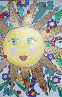 Katharina Eltringham; Let The Sun Shine, 2014, Original Mixed Media, 24 x 36 inches. Artwork description: 241                    Acrylic on canvas with mixed mediums. Whimsical, bold, happy and smiling sun with colors of gold, blues, yellows, red, tec. Picasso style face.  Ready to hang.                         ...