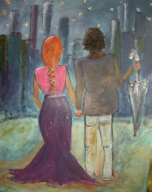 Katharina Eltringham; We Are Written In The Stars, 2012, Original Mixed Media, 16 x 20 inches. Artwork description: 241     Acrylic on canvas. A romantic stroll where the stars tell your story. Gesso and sparkle for added texture and visual delight.                ...