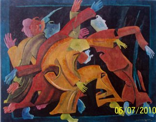 Jorge De La Fuente; DESTIEMPO, 1991, Original Mixed Media, 176 x 160 inches. Artwork description: 241   Figures in movement in a dancing manner.      ...