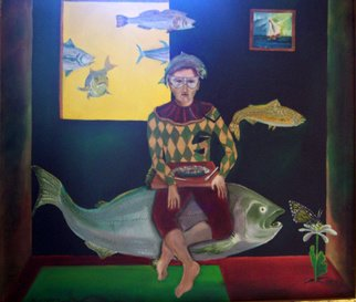 Jorge De La Fuente; FANTASY, 1994, Original Painting Oil, 33 x 29 inches. Artwork description: 241  A Circle: Fish ready to eat butterfly. She is eating from a flower and the arlequin eats the fish. And the only water is on a little painting. Fishes swiming in the air. ...