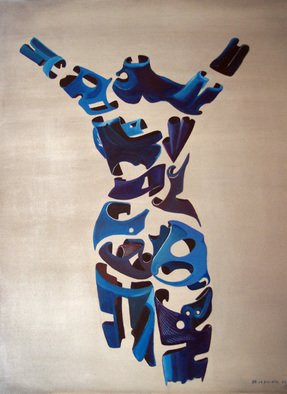 Jorge De La Fuente; LIBERTY, 1988, Original Painting Acrylic, 30 x 36 inches. Artwork description: 241  Neo surrealism segmented figure, with arms up to Liberty.  ...