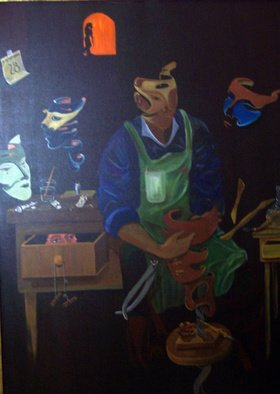 Jorge De La Fuente; The Mask Maker, 1990, Original Painting Acrylic, 36 x 48 inches. Artwork description: 241  A mask man, making masks. All suspended in the air. The Critic, observing from inside a cabinet.  December 28, the day of the inocents in Mexico.     ...