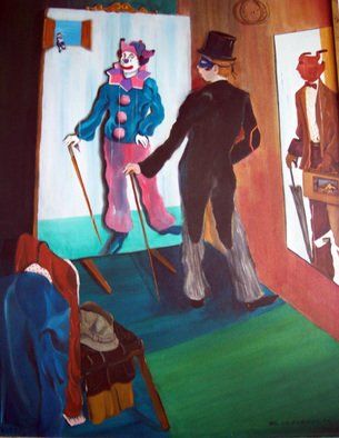 Jorge De La Fuente; WHICH COSTUME TODAY, 1992, Original Painting Acrylic, 36 x 48 inches. Artwork description: 241   Neo surrealism painting of the theather of life, where we are all actors. A gent, reflects a clown on the mirror and a sales man on his rigth, with a theather inside his case. The critic as a little clown on the upper left in a surreal ...