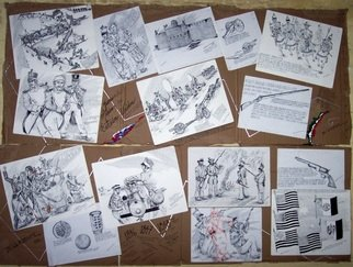 Jorge De La Fuente; War Between United States..., 2011, Original Drawing Pen, 200 x 80 cm. Artwork description: 241  A group of original Ink drawings, fixed as a Collage on Card Bord. This War was in 1846 to 1848. Mexico lost half of his territory and the US doubled his.             ...
