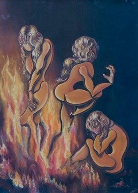 Olesya Novik; Dolls In The Fire, 2006, Original Painting Oil, 85 x 120 cm. Artwork description: 241  Dolls like a symbol of  woman who burned her love in the fire. If you will look  carefully inside the fire you will see namely who ...