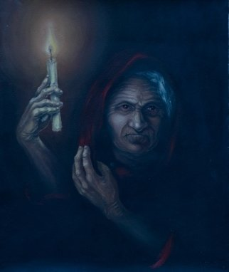 Olesya Novik; Old Woman, 2005, Original Painting Oil, 50 x 60 cm. Artwork description: 241  Old woman who looks at you without waiting for a something new in this life   ...