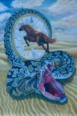 Olesya Novik; Rings Of The Time, 2006, Original Painting Oil, 85 x 125 cm. Artwork description: 241  Show to us wish of every human to be faster, than time   ...