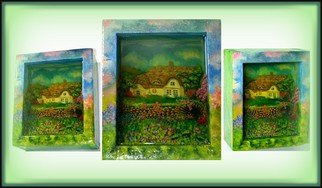Olesya Novik; The House 3d, 2014, Original Mixed Media, 14 x 17 cm. Artwork description: 241       home, house, 3d picture, three- dimensional image, optical illusion, living picture, unique painting, exclusive , luxury, 3d art, resin,          ...