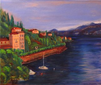 Patricia Larkin Green; Lake Como, 2007, Original Painting Oil, 18 x 20 inches. Artwork description: 241  Lake Como- a view from our room    ...