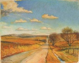 Paula Wilson; Flint Hills Thaw, 2005, Original Pastel, 24 x 22 inches. Artwork description: 241 View of the Flint Hill area close to Alma, Kansas during a warm day in January.  This painting is included in the MAPS Show at the Commerce Bank on the Plaza.  Image size is 15x19 inches...