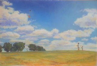 Paula Wilson; High Flying, 2003, Original Pastel, 19 x 12 inches. Artwork description: 241 Landscape featuring two people flying kites from a hill in Shawnee Mission Park in Shawnee Mission, Kansas created during the 2003 Plein Air Painting Show/ Sale in June....
