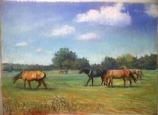 Paula Wilson; Horses In Pasture, 2003, Original Pastel, 10 x 8 inches. Artwork description: 241 This image shows a group of horses moving in a pasture close to Smithville, Missouri.  This image was created during the IPAP worldwide Plein Air paintout, Sept 13- 14, 2003.  This image is included in the MAPS' Sixth Annual Small Painting show....