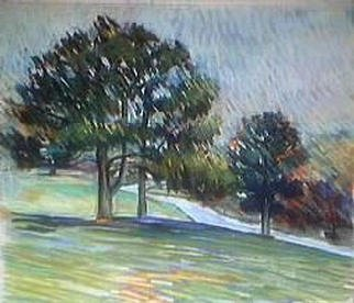 Paula Wilson; Small Landscape, 2003, Original Pastel, 10 x 8 inches. Artwork description: 241 View of the entry to a golf course in Excelsior Springs, Missouri.  This was painted for the IPAP worldwide Plein Air paintout, Sept 13- 14, 2003....