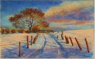 Paula Wilson; Snowy Road, 2004, Original Pastel, 12 x 9 inches. Artwork description: 241 Personal Christmas card image for 2004.  This image was created from a reference photo available on the Wetcanvas website, and was created using watercolors, ink and soft pastels on Arches cold press watercolor paper....