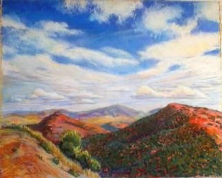 Paula Wilson; Southwest Vista, 2003, Original Pastel, 12 x 10 inches. Artwork description: 241 Soft pastel landscape painting of colorful mountains and hills close to Tucson, Arizona.  ( This painting was selected in the juried MidAmerica Pastel society' s' Members only show at the Sheraton Suites hotel' on the Country Club Plaza in KCMO.  This painting is currently available from Artworks NYC....