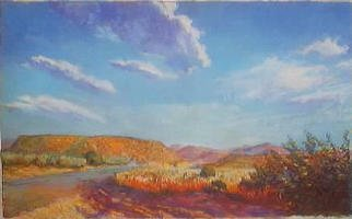 Paula Wilson; Southwestern Landscape, 2003, Original Pastel, 19 x 12 inches. Artwork description: 241 Soft pastel painting of the scenic mountains on a pleasant summer afternoon near the area of Patagonia and Tucson, Arizona.  This painting is in the collection of Wolf Haldenstein Adler Freeman and Herz, NY, NY....