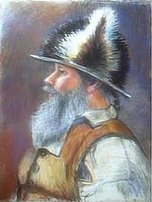 Paula Wilson; Storyteller, 2003, Original Pastel, 8 x 10 inches. Artwork description: 241 Painting of the storyteller Jim' Two Crows' Wallen dressed in a period recreation uniform, telling stories based on the Lewis and Clark Expedition.  The fur on his hat is bear and a whitetail deer tail, and his uniform is made from linen.  This image is included in ...