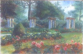 Paula Wilson; View Of The Rose Garden, 2003, Original Pastel, 19 x 12 inches. Artwork description: 241 View from the rose garden in Loose Park in Kansas City, Missouri created during the 2003 Plein Air Painting Show/ Sale in June....