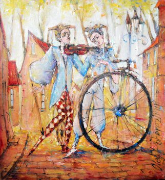 Oleg Poberezhnyi; Music For You, 2017, Original Painting Oil, 70 x 70 cm. Artwork description: 241 music, clowns, bicycle, clowness, clown, impression, europe, street...
