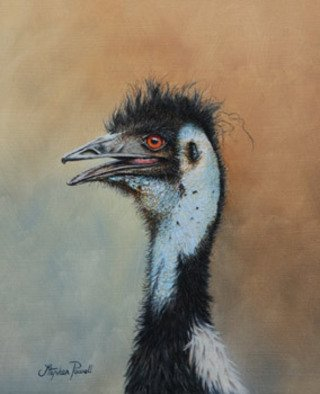 Stephen Powell; Emu, 2008, Original Painting Oil, 21.5 x 26.5 cm. Artwork description: 241  Worlds second largest bird from Australia. ...