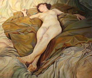 Paul Kenens; 72 The Origin Of The World, 2020, Original Painting Oil, 150 x 140 cm. Artwork description: 241 Model BjAP rk lying in perspective on dark fabric, on top af a lighter fabric, trown dawn casualy...