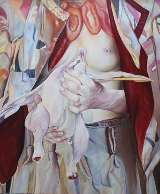 Paul Kenens; Chicken Breast, 2019, Original Painting Oil, 100 x 120 cm. Artwork description: 241 Chikenbreast and vegatable hanger in a jester cape...
