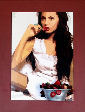 Samitha Hess; Angelina With Strawberries, 2008, Original Mixed Media, 1 x 1 inches. Artwork description: 241  All of my original artwork was destroyed in Hurricane Ike. To see this design on t- shirts, visit:
