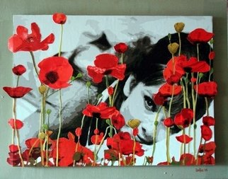 Samitha Hess; Audrey In Poppies, 2008, Original Mixed Media, 1 x 1 inches. Artwork description: 241 All of my original artwork was destroyed in Hurricane Ike.      For posters & prints and to see this design on tees, cards, mugs, etc. visit: