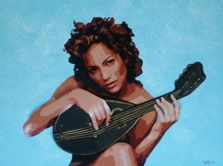 Samitha Hess; Jennifer With Mandolin, 2008, Original Mixed Media, 1 x 1 inches. Artwork description: 241  All of my original artwork was destroyed in Hurricane Ike. To see this design on t- shirts, visit: