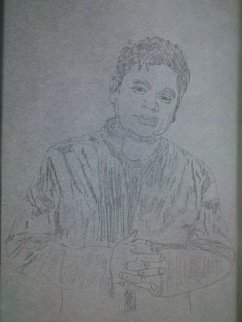Pradeep Arunachalam; Ar Rahman, 2014, Original Drawing Pencil, 210 x 297 mm. Artwork description: 241  OSCAR WINNING MUSIC DIRECTOR AR. RAHMAN  ...