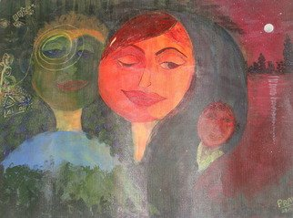 Pranita Joshi; Dreaming Of Child, 2012, Original Mixed Media, 16 x 25 inches. Artwork description: 241  An art that explores the soul touching dream of a man . . . the dream of a soul mate and a child ...