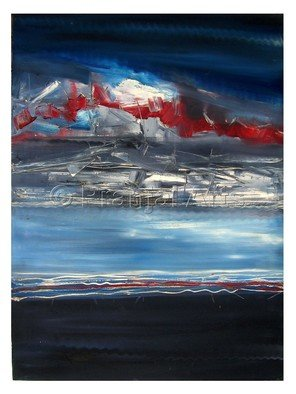 Pranjal Arts; Power Of Blue, 2019, Original Painting Oil, 3 x 4 feet. Artwork description: 241 merging of sky and sea, both are the powerfull blue. shown with red tonals also to give a deep effect. ...
