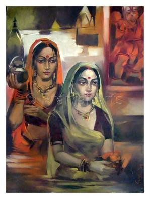 Pranjal Arts; Working Women, 2019, Original Mixed Media, 4 x 4 feet. Artwork description: 241 two women shown are busy in making their home a better palce...