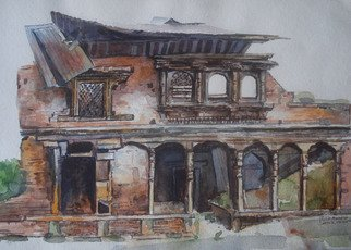 Preeti Agrawal; Beauty In Ruins, 2007, Original Watercolor, 9.5 x 14 inches. Artwork description: 241  Land of culture. Temples. Nepal. Mountains. Old houses. Architecture. Wooden houses  ...