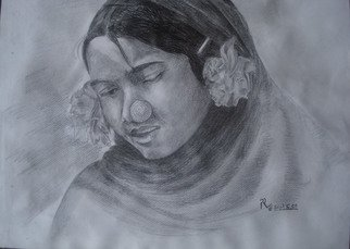 Preeti Agrawal; Girl With  Flower, 2003, Original Drawing Pencil, 9.5 x 14 inches. Artwork description: 241     Potrait. Girl. Simplicity. Beauty.              ...