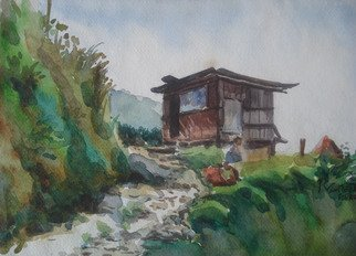 Preeti Agrawal; Into The Mountains, 2007, Original Watercolor, 9.5 x 14 inches. Artwork description: 241  Land of culture. telkot. Nepal. Mountains. ...