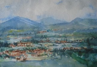 Preeti Agrawal; Village View, 2007, Original Watercolor, 9.5 x 14 inches. Artwork description: 241  Land of culture. Changu village. Nepal. Mountains . Landscape. View from the top.      ...