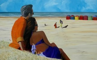 Peter Seminck, 'On The Beach', 2013, original Painting Oil, 64 x 39  x 1 inches.