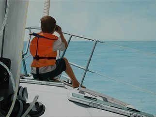 Peter Seminck, 'Skipper To Be', 2013, original Painting Oil, 47 x 35  x 2 inches. Artwork description: 1758  SailingBoyBoatsSearealism ...