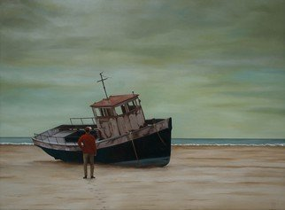 Peter Seminck; Stranded, 2015, Original Painting Oil, 47.2 x 35.4 inches. Artwork description: 241  seafishermanbeachpeopleboatrealism ...