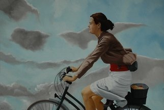 Peter Seminck; Against The Wind, 2018, Original Painting Oil, 39.4 x 27.6 inches. Artwork description: 241 WomanBicyclewind realism...