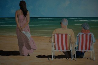 Peter Seminck; On The Beach With Mom And Dad, 2020, Original Painting Oil, 47.2 x 31.5 inches. Artwork description: 241 Until these scenes are possible again after the Covid- 19 has been beaten...