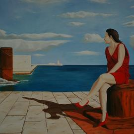 Peter Seminck, , , Original Painting Oil, size_width{sitting_on_the_dock_of_the_bay-1490016114.jpg} X 31.5 inches