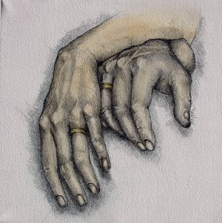 Patrick Sean Kelley; Marriage, 2008, Original Drawing Charcoal, 12 x 12 inches. Artwork description: 241  Hands can say so much about life and love. ...